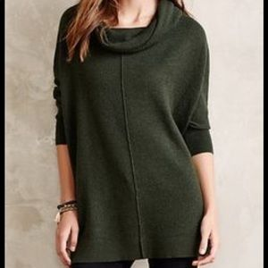 Anthropologie dark green waffled cowl neck sweater